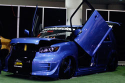 doors on Buendia's SEMA Scion are care of Vertical Doors, Inc.