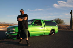 Derek Marlatt with his modified Chevrolet Silverado known as Pops Project