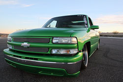 Chevy Silverado sporting House of Kolor LimeTime Green and HOK Orion Silver graphic by Rob Olin of Olin Designs