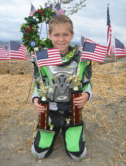 Lake Elsinore, California resident Marshall Stewart is first place in Moto X Kidz Summer Series