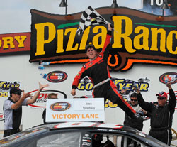 Max Gresham joins Joey Logano, Brian Ickler and Kyle Busch as winners of the East and West Series combination race at Iowa Speedway.