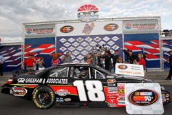 Max Gresham wins NASCAR K&N Pro Series East race at New Hampshire Motor Speedway.