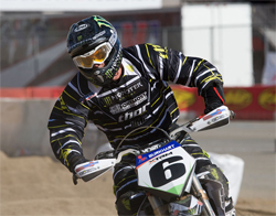 AMA Supermoto Champion Mark Burkhart debuted his Monster Energy HMC Burkhart Racing KTM at Auto Club Speedway in Fontana, California