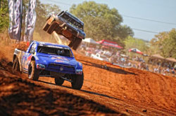 In dramatic fan pleasing fashion veteran off-road racer Ricky Johnson drove the No. 48 Menzies built PRO-4 to a 2011 championship in the last race of TORC season.