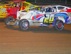 Del Rougeux worked his way to the front of the pack in the Dirt Late Modified Series, photo by Oyler Action Photo