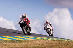 Roger Hayden trails Ben Bostrom their Michael Jordan Motorsports AMA Pro Road Race bikes