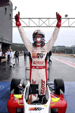 The win at Spa-Francorchamps was Lewis' first for the PREMA Powerteam in the Formula 3 Italia Championship.