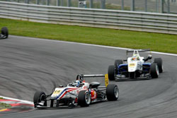 Lewis charges through the field at the Red Bull Ring during Round 9 of the F3 Euro Series.