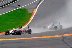 Lewis leads a hard-charging Maxime Jousse during Round 7 of the Formula 3 Italia event at Spa-Francorchamps.