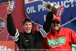 The win was Mans' second national event victory at Route 66 Raceway.