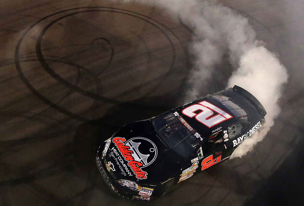K&N Pro Series racer Michael Self celebrates with some typical donuts