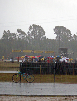 A thunderstorm stops riders in round three of the UEM Supermoto Championship Series in Latina, Italy