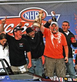 NHRA Winner's Circle celebration and another Wally for racer Luke Bogacki