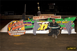 Susquehanna Showdown win for the Jason Miller Race Team at Susquehanna Speedway in Newberrytown, Pennsylvania, photo by LapPhoto.com