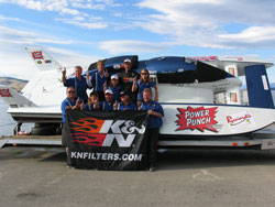 The UL-11 Power Punch Race Team/94Five Roxy/K&N Engineering hydroplane is declared winner of the Polson Regatta.