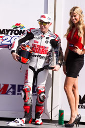 Roger Hayden stands on the Podium after finishing third during two events of the 2012 season opener at Daytona Beach, Florida.