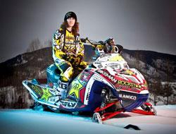 Colten Moore prepars for snowmobile freestyle at Winter X Games in Aspen, Colorado