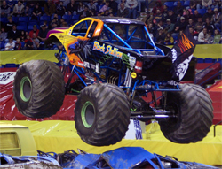 Monster Truck Black Stallion flies the K&N Flag in the Wachovia Arena