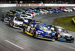 Todd Gilliland fights for the lead and wins the Jet Tools 150 at New Smyrna Speedway on February 14