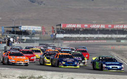 Greg Pursley took the lead in the race at Miller Motorsports Park on the first lap