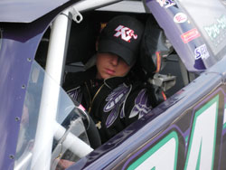 Exhausted Nataline Sather sleeps in her late model car
