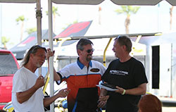 Robert Byrd with Will Baty, of Centerforce Performance Clutches presents Michael Morrow Sundays Spirit of the Event Award at Hotchkis Cup Autocross Challenge