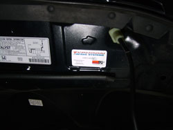 The C.A.R.B. exemption sticker must be visible under the hood so that emissions inspectors can see it during an inspection.