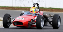 Darren Burke piloting his PA Motorsport/K&N Filters Macon MR8 to a dominating first round victory in the HSCC Historic Formula Ford Championship at Silverstone. (Photo by Bear Media)