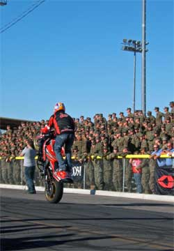 Several grandstands filled up to watch the stunt bike culture