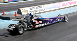 Rochelle's Cheetah powered dragster is capable of blistering an eight-mile dragstrip at well over 80 mph.