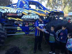 The kids were able to up close and personal with the Shocker Monster truck