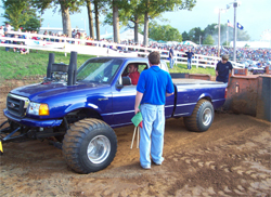 In the Pro Pulling League competitors are hooked up to a weight transfer known as a sled