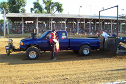 Jonathon Payne drives his modified 2005 Ford Ranger at Pro Pulling League competitions