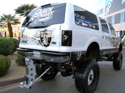 Pete Gutierrez says the suspension on his SEMA 2005 Ford Excursion was totally custom manufactured for his truck.