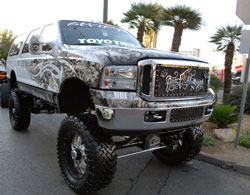 His kids wanted a lifted truck, and Gutierrez is a huge Raider fan, his truck combines the best of both for SEMA.