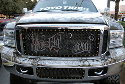 For Gutierrez it's 100-percent Raidernation, or go home. 2011 SEMA Ford Excursion.