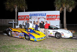 Let the celebration begin for Peter Biondo shown here with the Super Stock Camaro and the Super Gas Corvette Roadster after his two holeshot final round victories.
