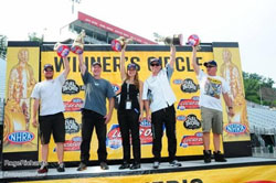 Emily and Biondo share the Bristol Dragway Winners Circle