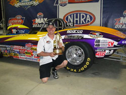 Peter Biondo's historic Super Gas win at zMax Dragway makes him one of only four drivers to ever win in four different NHRA categories.