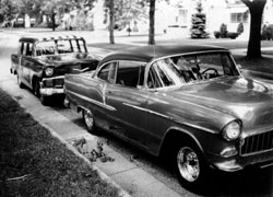 Veldheer's 1955 Chevrolet street car towing his 1956 Wagon to the 1967 US Nationals in INDY at age 18. He claims the street car was faster than the race car.
