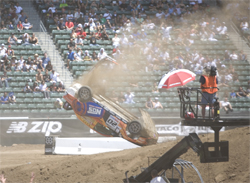 Andrew Comrie-Picard and co-driver Jen Horsey were not injured in their X Games 14 crash