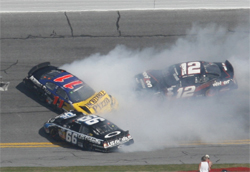 Scott Lagasse Jr., faces accident in front of him at Daytona International Speedway with nowhere to go, photo credit Christina Ramzel 2009