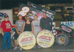 The entire POPS Race team was on hand to celebrate Kenneth Walker's ASCS win at Dallas' Devils Bowl.