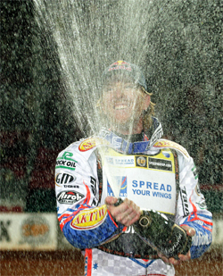 Australian Jason Crump took first place at the World Speedway Grand Prix in Denmark and is in first place in points for the series