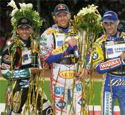 Greg Hancock, USA, Jason Crump, Australia and Tomasz Gollob, Poland on the podium in Denmark