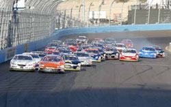 Front stretch restart of the Pro Series West race in Phoenix.