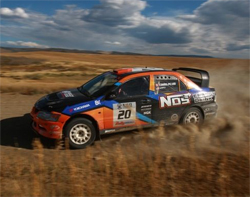 Andrew Comrie-Picard wins Rally Colorado in his NOS Energy Mitsubishi Lancer Evolution IX, photo by Caleb Tkach/Kevin Hahn Photography