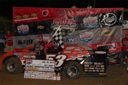 Ray Cook made it back to victory lane East Bay Raceway after a 12 year dry spell. Photos by Rick Schwallie Photos.