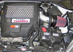 K&N performance air intake system 69-0017TS installed on a 2007 Acura RDX 2.3 liter turbo engine