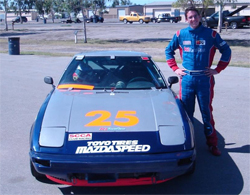 Carlsbad, California high school senior Jacob Pearlman  with his K&N Products Mazda RX-7